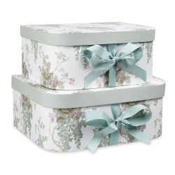 cajas de cartón estampadas con flores azul verdoso de diseño