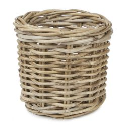 maceta pequeña de fibra natural redonda de diseño