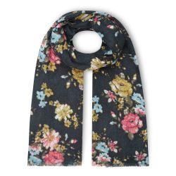 bufanda azul con grandes flores estampadas de diseño