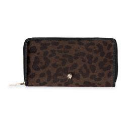 monedero de estampado leopardo con cremalleras de diseño