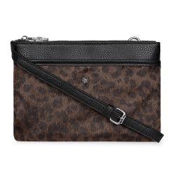 bolso cruzado diseño leopardo y negro
