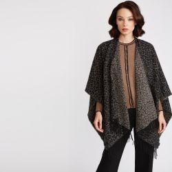 capa de estampado leopardo diseño jaquard