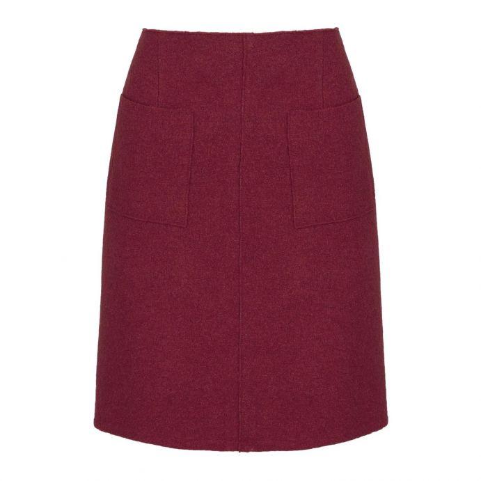 falda de lana roja forma A e diseño con bolsillos
