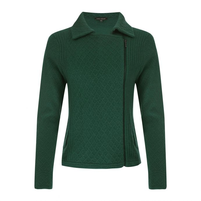 chaqueta de lana verde tipo biker de diseño