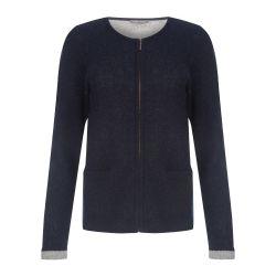chaqueta de lana azul marino y gris
