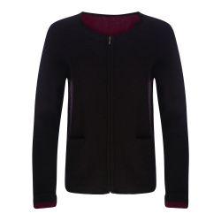 chaqueta de lana negro y rojo