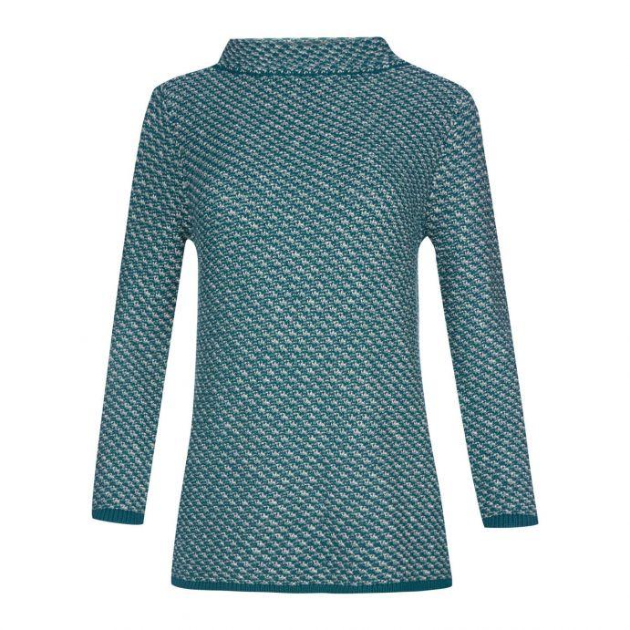 jersey textura gris y verde con cuello bardot de diseño