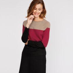 jersey de lana en color negro, rojo y caramelo de diseño