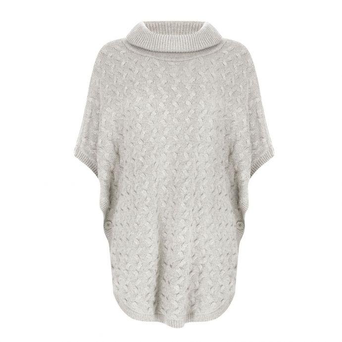 poncho de lana gris con cuello vuelto
