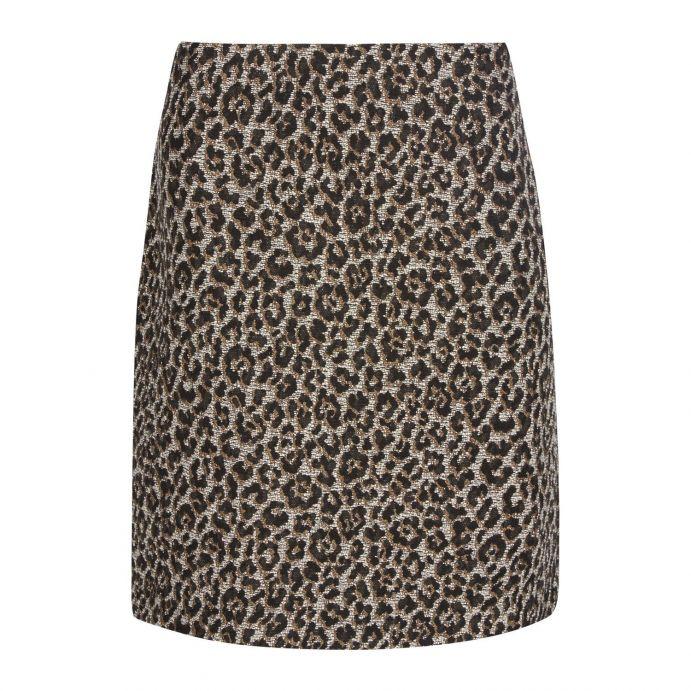 falda jacquard de estampado leopardo, animal print