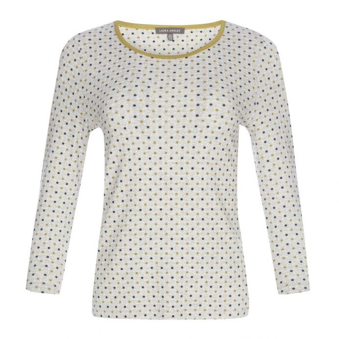 camiseta de topos en  gris y mostaza de diseño