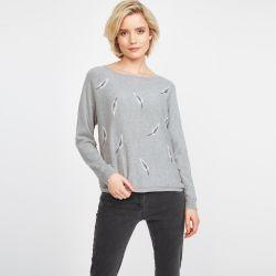 jersey gris con estampado de plumas de diseño