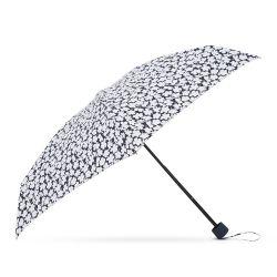 paraguas plegable azul marino con flores blancas
