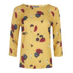 blusa amarillo mostaza con estampado de flores de diseño