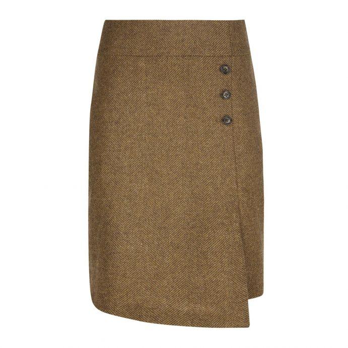 falda de lana cruzada de diseño clásico inglés en espiga