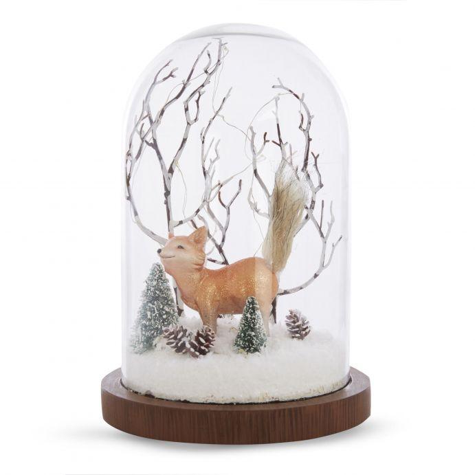 campana luminosa con escena de invierno y zorro