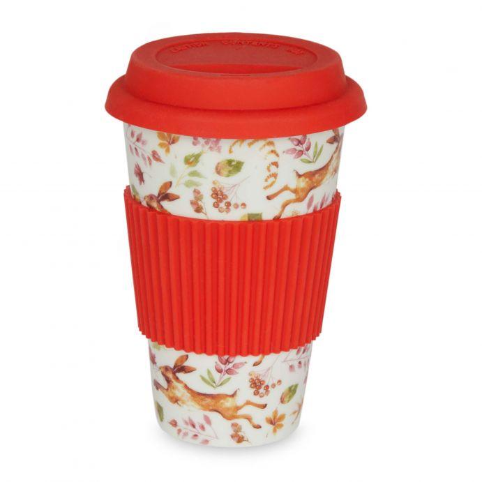 taza para llevar con diseño de liebres