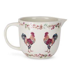 jarra cerámica medidora con diseño de gallos