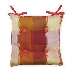 cojín para sillas estampado reversible hojas cuadros de diseño
