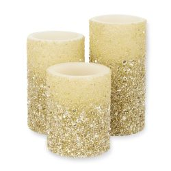 3 velas decorativas color champán efecto llama para Navidad