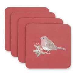 posavasos rojos para la mesa en Navidad