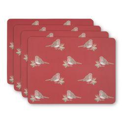 4 manteles individuales  rojos para la mesa de Navidad