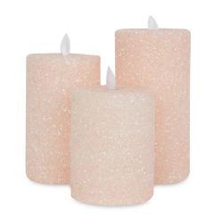 velas luminosas rosa escarchado para Navidad