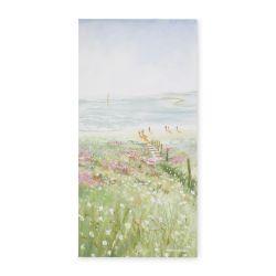 cuadro con paisaje de costa y flores de diseño