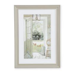 cuadro con diseño de puerta que se abre al jardín