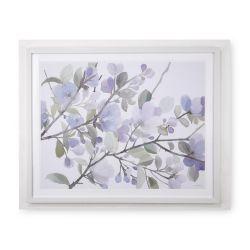 cuadro con diseño de flores azules y marco crema