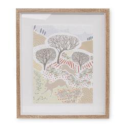 cuadro con diseño de liebres saltando en el campo