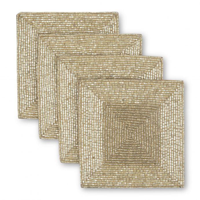 posavasos dorados para decorar la mesa de Navidad con estilo