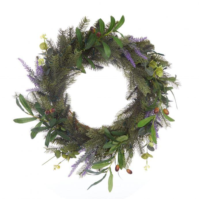 corona con hojas de colores y luz perfecta para decoración de Navidad de diseño
