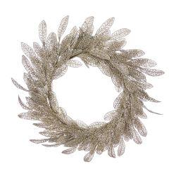 corona con plumas doradas y luz perfecta para decoración de Navidad de diseño
