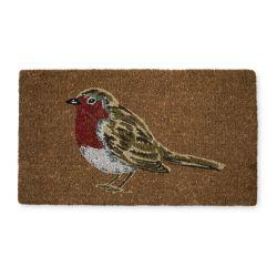 felpudo con pájaro petiirrojo, ideas de regalo para decorar en Navidad