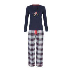 pijama dos piezas azul marino y gris con detalle de pajarito