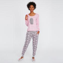 pijama dos piezas rosa y gris con estampado de buhos
