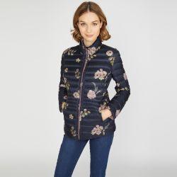 chaqueta de plumas reversible azul marino con flores y rosa