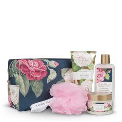 set de baño en neceser de diseño y fragancias florales - ideas para regalar