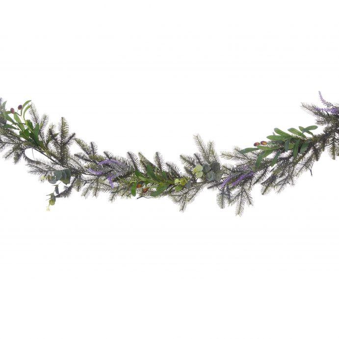 gurinalda tipo natural con hojas y flores de colores y luz, ideas para decorar la Navidad