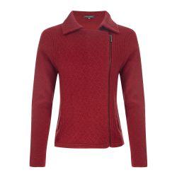 chaqueta de lana roja tipo biker con cremallera lateral de diseño