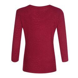 camiseta tipo jacquard con diseño de leopardo en rojo