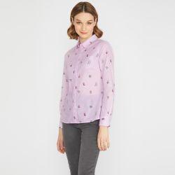 camisa de algodón rosa estampada con verduras de diseño