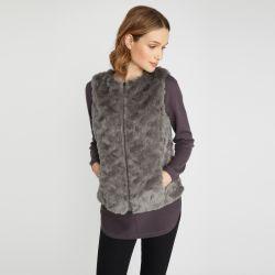 chaleco de pelo gris de diseño ideal para invierno