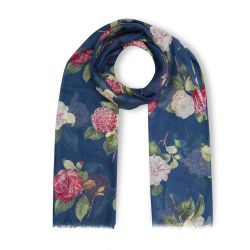 pañuelo bufanda azul estampada con flores de diseño