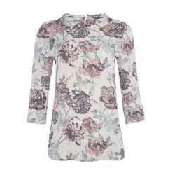 blusa de flores con manga 3/4 y cuello estilo bardot de diseño