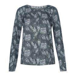 blusa con textura en gris estampada con árboles moda de diseño