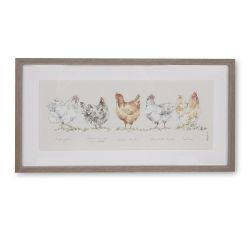 cuadro con marco gallinas, decoración estilo rústico