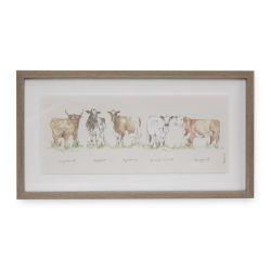 cuadro con marco vacas, decoración estilo rústico