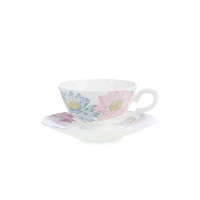 conjunto de taza y plato de té de porcelana estampada con flores de diseño